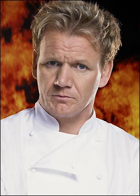 Gordon Ramsay superimposed atop fire