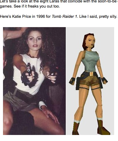 Katie Price aka Jordan as Lara Croft