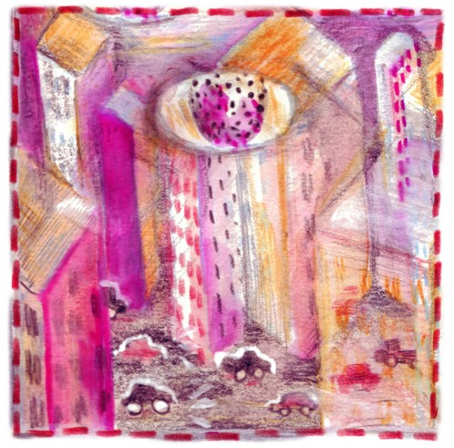 A painting of an eye-in-the-sky, looking over a city, by artist Jose Luis Olivares
