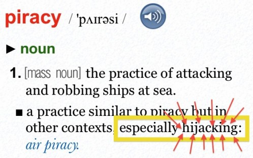 The Oxford Dictionary of English defines &quot;piracy&quot;